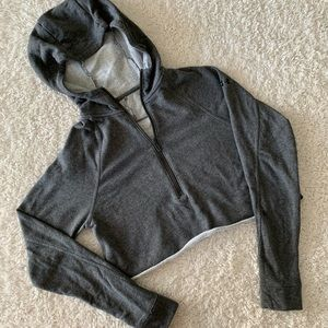 Under Armour gray zipper raw cut cropped hoodie